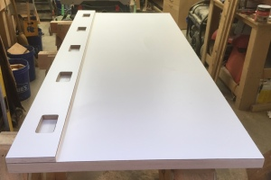 Bench top with formica and rounded edges