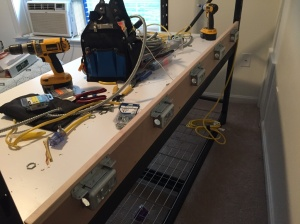 Wiring up the back of the bench.