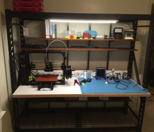 Completed bench with 3D printer and electronics tooling