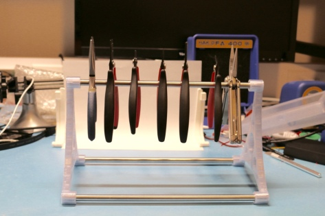"Top bar is about 6"" above the bench top and can accommodate most sizes of plier and similar tool you are likely to encounter on a maker workbench"