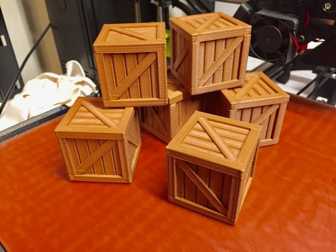 Wood Crates -- Printed in PLA with wood fiber in it.