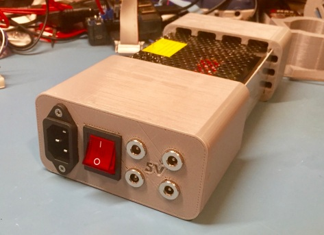 3/4 view of completed power supply and case