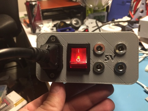 Completed power supply with power on