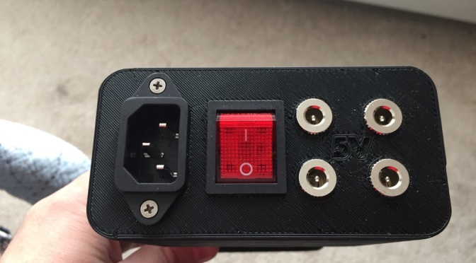 Completed power supply in black PLA