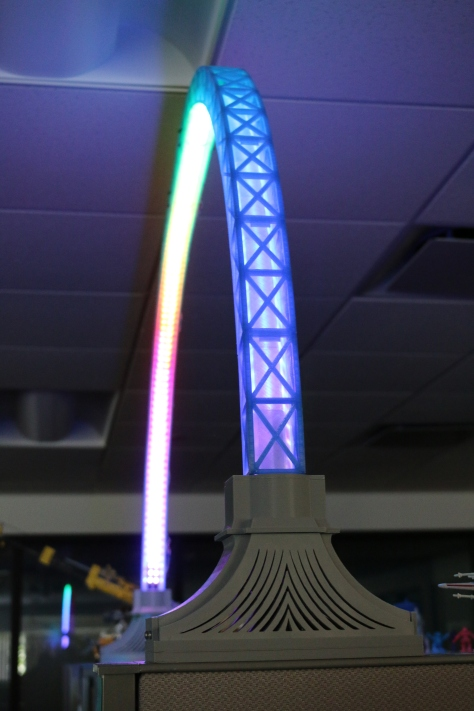 Side view of my LED Bridge Lamp running a rainbow animation.