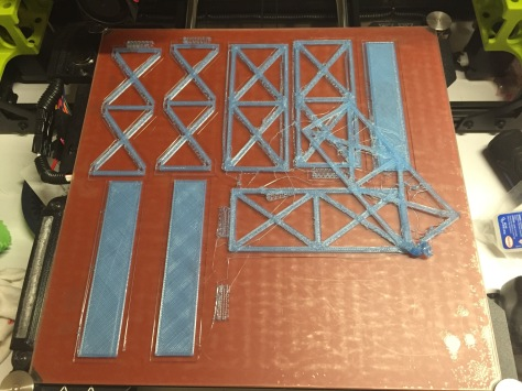 Printing two straight sections of bridge superstructure