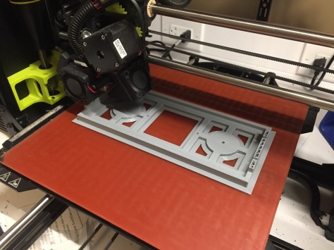 Printing the electronics tray with a brim